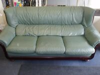 green leather 3 piece suite
