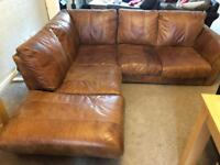 Real Tan Leather Corner sofa, chair and foot stool DFS