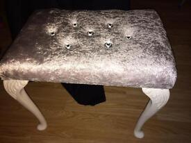Silver vintage crushed velvet stool with Diamanté buttons