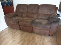 3 seater brown manual recliner sofa
