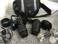 Nikon D5000 with 3 lenses and carry bag