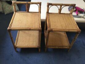 Bed side wicker tables