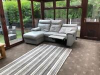 Grey Leather Electric Recliner Corner Sofa