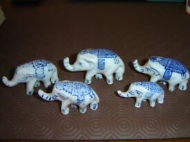 5 Porcelain Elephants - very collectable and cute!