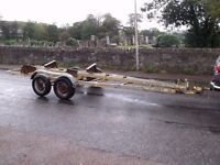 Twin axle boat trailer. Heavy duty