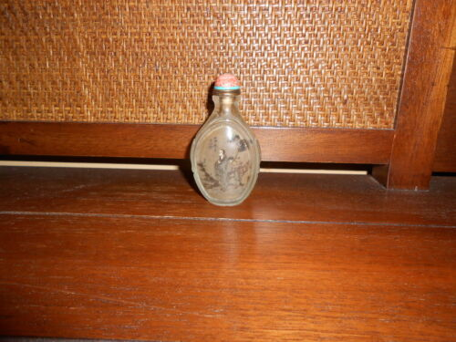 Vintage Chinese Snuff Bottle Hand-Made Glass Reverse Painted