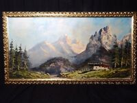 Fine Art Oil Canvas Painting Landscape French Alps Mountain Scene Signed GRATZ