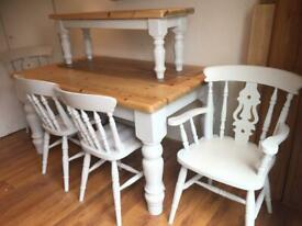 cottage style pine table chairs plus bench