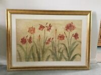 Poppies picture with gold coloured frame