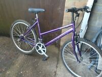 Ladies mountain bike with 26 inch alloy wheels good tyres 19 inch frame with 18 gears side stand vgc