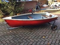 Fibreglass Dinghy/Tender/Rowing Boat with Launch Trailer