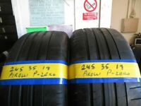 245 35 19 MATCHING PIRELLI P-ZERO RUNFLAT TYRES X2 £100 INC FITTING AND BALANCE OPEN 7 DAYS