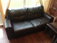 Brown leather sofabed - 3 seater - very cheap almost free £20!