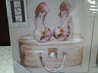Brand New Pretty 3 x 30cmx30cm Girls Canvas Wall Art