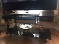 Glass TV Trolley Shelf Unit