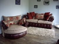 3 SEATER SETTEE PLUS LARGE SWIVEL CUDDLE CHAIR