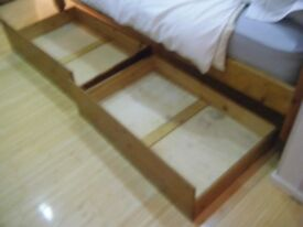 Pine Wood Single Bed + Mattress £30 ono With 2 x Under-Storage Drawers £20 o.n.o.