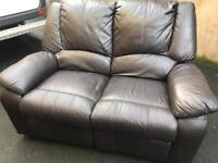 🛎 Luxury brown full leather ~ 2 seater recliner ~ sofa suite
