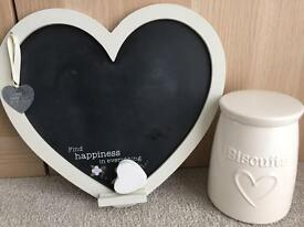 Heart chalkboard & biscuit canister
