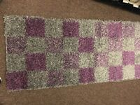 x2 Walkway Rugs Grey and Purple Squares