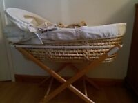 Mammas & Papas Moses Basket & Stand & Sheets Bundle
