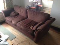 DFS 4 seater brown sofa