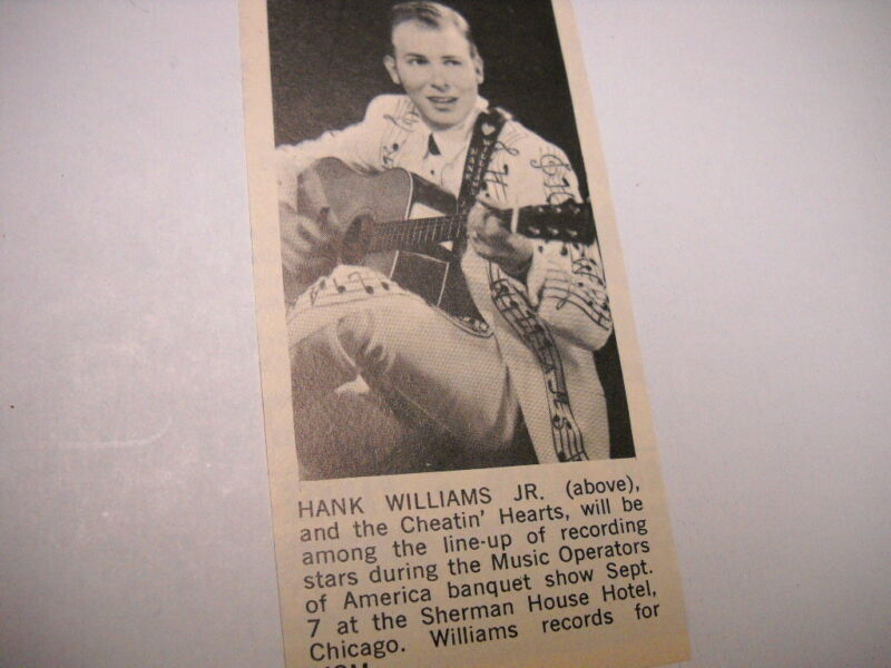 HANK WILLIAMS JR/ will be at Sherman House Chicago 1969 music biz promo pic/text