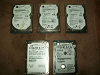 "5x Laptop SATA 2.5"" Hard Drives Bundle 3x160 GB, 1x120 GB,1x250 GB"