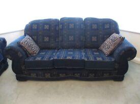 SOFA x3, Royal Blue, Gold Trim with 6 cushions