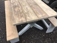 Lovely dining table and benches rustic