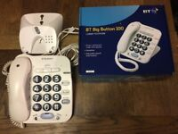 BT BIG BUTTON 100 Corded TELEPHONE in original box, with Instructions : VGC & good working order