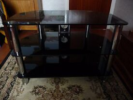 TV STAND 3-Tier Black Safety Glass and Chrome Legs