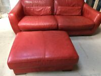 Incanto Italian red leather sofa, chair and footstool. Top quality, great condition