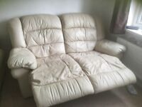 2 x leather cream recliners sofas