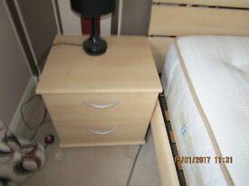 Bedside drawers (x2) - light wood