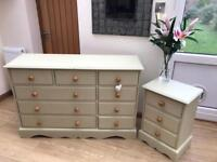 Solid pine chest of drawers / Bedside Table set
