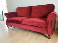 Two seater sofa and armchair with foot stool