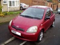 2003 Toyota Yaris 1.3Vvti Colour Collection. 64000 Miles. Dealer Service History. Mot. Alloy Wheels