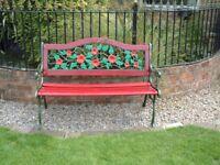 wrought iron bench, colourful, decor, designer
