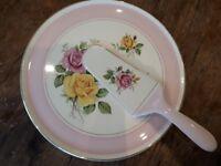 Royal Tudor ware cake plate and knife set.