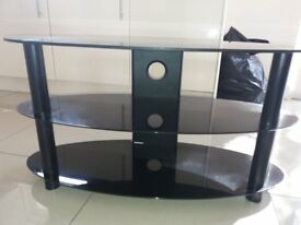 Gorgeous Black Oval Glass TV Stand - £20