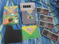 Nintendo World Cup Game + Four Score Multi-tap + 4 Official Control Pads NES all in working order