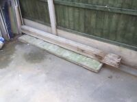 Concrete fence post and gravel board, used.