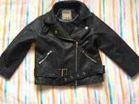NEXT girls faux leather biker jacket Age 3