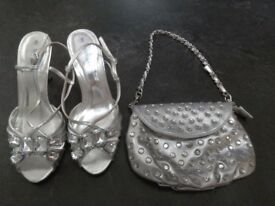 Silver shoes & matching bag from Barratts size 5