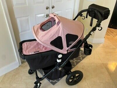 Bugaboo Cameleon stroller w bassinet + stand + car seat mounts (blue and pink)