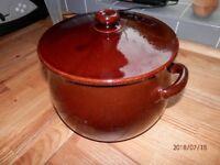 Glazed Brown Lidded Stockpot