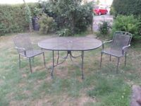 steel mesh garden table and chairs