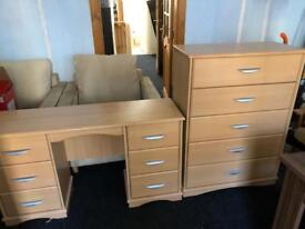 Solid wooden dressing table and matching 5 drawer chest