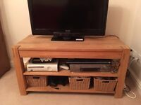 Solid Oak TV stand (with drawer)